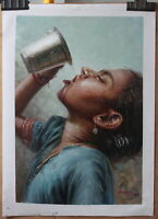 "Fine art original oil painting portrait of Indian girls drinking water 16""x24"""