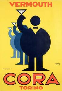 Cora Vermouth Torino Vintage Advertising Poster Canvas Giclee Print 24x32 in.