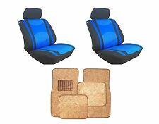 Mesh Blue & Black Seat Covers with Taupe Carpet floor Mats for Cars SUVS- Combo
