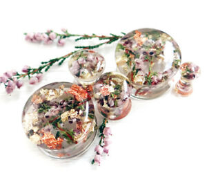 Real Heather Plugs Tunnels Wedding gauges Women Ear Plugs Floral Resin 1 Pair