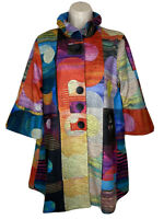 DAMEE Watercolor Abstract Swing Jacket Bell Sleeve Sz M NEW NWT