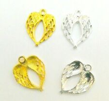 10 Guardian Angel Double Wings Jewellery Making Bright Silver or Gold Plated