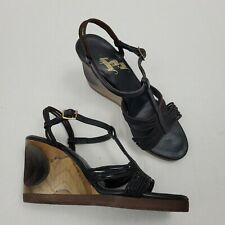 Vintage 70s Naughty But Nice Wedge Strappy Sandal Wood Heels Sz 6 Unique Pinup