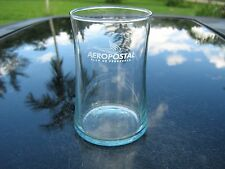 "AEROPOSTAL ALAS DE VENEZUELA    3.75"" TALL BEVERAGE CLEAR  GLASS WHITE  LOGO"