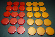 vtg Bakelite Swirl Backgammon Marbled Checkers Butterscotch & Red Chips