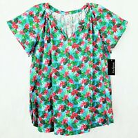Kim Rogers Women's NWT M/L Top Blouse Short Sleeve Cotton Floral Tropical Oasis