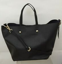 MONSERAT DE LUCCA LARGE SAFFIANO DOCENTE BLACK MEDIUM TOTE SATCHEL BAG NEW