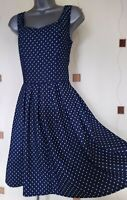 DRESS MEDIUM M DOTS SPOTS STRETCH SKATER FIT & FLARE ITALY BOHO HIPPY QUIRKY