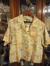 Tommy Bahama $100 FAB New NWT women top shirt Hawaiian XS 2 floral Sand Dollar