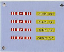 Decal - Oversize Load, D Sign, Heavy Haul, Lowboy, 1/87th scale.