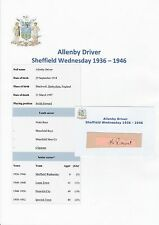 ALLENBY DRIVER SHEFFIELD WEDNESDAY 1936-1946 RARE ORIGINAL HAND SIGNED CUTTING