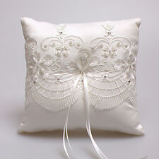 Ivory Lace flower Ribbon bow Satin Wedding Ceremony Ring Pillows Bearer Pillow