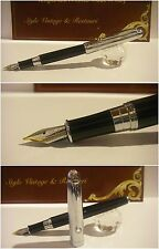 Stilografica Black Chrome Regal British fountain Pen - Nib two-tone siz. M/f