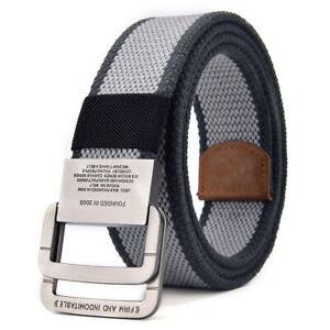 Mens Canvas Belt Military Webbing Double Loop Adjustable Buckle Dual Color Belt
