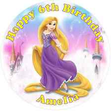 """Rapunzel  7.5"""" Round Personalised Edible Icing Cake Topper"""