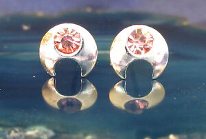 Ear Studs Silver Moon with Crystal Pink