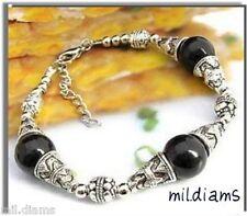 Bracelet Etnique 3 Perles 14 mm Jade Noir Argent du Tibet
