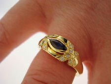 Schöner Ring 750 Gold 12 Brillanten ca. 0,12 ct  Saphir Anello Oro 18K ca. 5,1 g