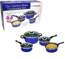 7PC BLUE NON STIC COOKWARE SET STEEL PAN POT CARBON  SAUCEPAN GLASS LID KITCHEN