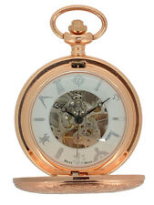 New Mechanical Rose Gold Tone Double Hunter White Dial Masonic Pocket Watch