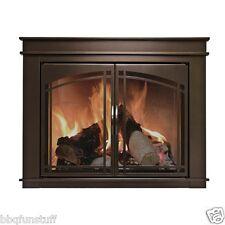Pleasant Hearth Glass Fireplace Door Fenwick Bronze Iron with Hard Mesh Large