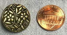 "ONE Gold Luster Black Glass Shank Button Flower Floral Czech 11/16"" 18mm 8682"
