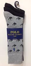 NWT POLO RALPH LAUREN MEN'S DRESS SOCKS 3-PAIR 2-BLACK 1-GRAY PATTERNED SZ 10-13