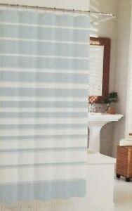 "Sanctuary Blue & White Fabric Shower Curtain 72"" x 72"" NIP"