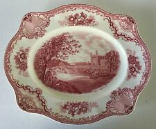 "Pink OLD BRITAIN CASTLES Johnson Bros 12"" OVAL PLATTER 1930s Crown Mark England"