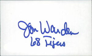 Jon Warden Detroit Tigers Signed 3x5 Index Card JSA Authenticated