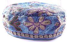 Light Blue Bucharian Yarmulke Kippah Jewish Kippa Hat Judaica Large Cupples Big