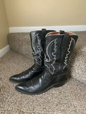 Lucchese 1883 Black Leather Cowboy Boots Sz 10D (10.5D)White Stitching