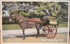 Postcard IRISH JAUNTING CAR Jarvey Eva Brennan Valentine Carbo Colour Ireland