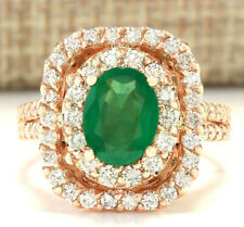 3.21 Carat Natural Emerald 14K Rose Gold Diamond Ring