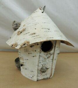 """BIRCH BARK BIRD HOUSE 8"""" HOME DECOR OR OUTDOOR"""