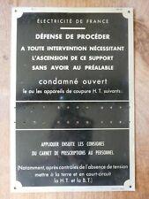ancienne plaque ancienne ALUMINIUM ELECTRICITE  déco indus loft atelier usine