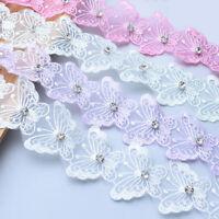 1yd Perlen Schmetterling Stickerei Spitzenborte Ribbon DIY Hochzeitskleid Nähen