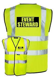 EVENT STEWARD Yellow Hi-Vis High-Vis Visibility Safety Vest/Waistcoat