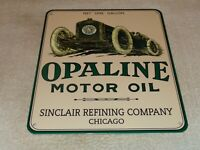 "VINTAGE SINCLAIR OPALINE MOTOR OIL W/ RACE CAR 12"" PORCELAIN METAL GASOLINE SIGN"