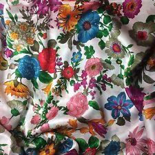 "Silk CHARMEUSE Fabric FLOWER GARDEN 45"" by the yard"