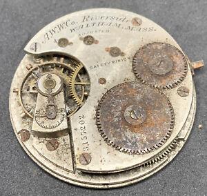 Waltham Riverside 1872 Pocket Watch Movement 16s 15j Hunter Parts Only F2507