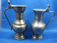 Lot of 2 Antique German Engraved Solid Pewter Pitchers with Handles & Lids Nice