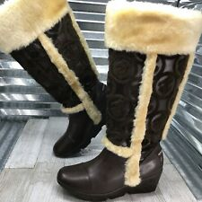 RocaWear Women's Brown Vegan Leather Mid Calf Boot Faux Fur Details Size 9 Wedge