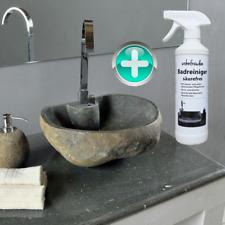WOHNFREUDEN Naturstein Waschbecken gerade 40 cm Rückwand und Reinigungsspray