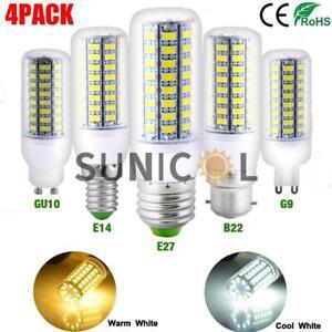 4x E14 E27 B22 G9 GU10 LED Corn Bulbs Lights SMD5730 Spotlight Lamps Warm White