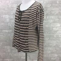Sonia Rykiel Paris Top Large Brown Cream Stripe Lightweight Button Up Tie Neck