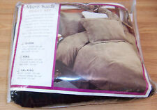MICRO SUEDE BLACK 4PC QUEEN DUVET 2 PILLOW SHAMS BED SKIRT