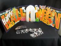 Vtg Halloween Die Cut Banner With Honeycomb Ghost and Skeleton Garland
