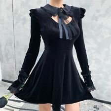 Women Gothic Black Velvet Dress Lace Long Sleeve Punk Witch Vampire Halloween