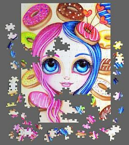 "500 Piece PUZZLE ""Donut Princess"" Australian Artist Jaz Higgins Doughnut Jigsaw"